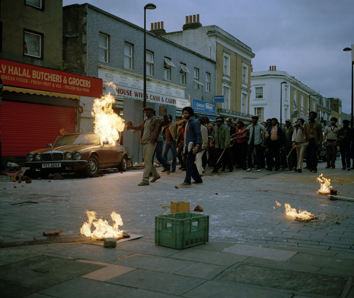 A scene from the Brixton Uprising in 'Alex Wheatle'