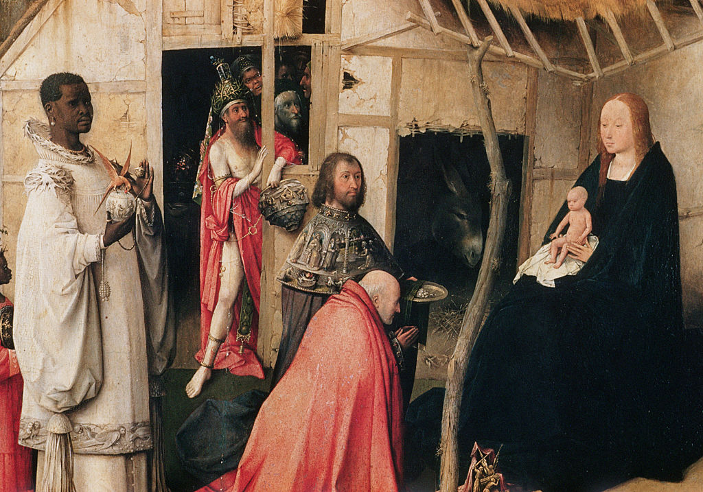 A close-up of a triptych panel in Hieronymus Bosch's  The Adoration of the Magi  (circa 1494) at the Museo del Prado in Madrid, Spain.