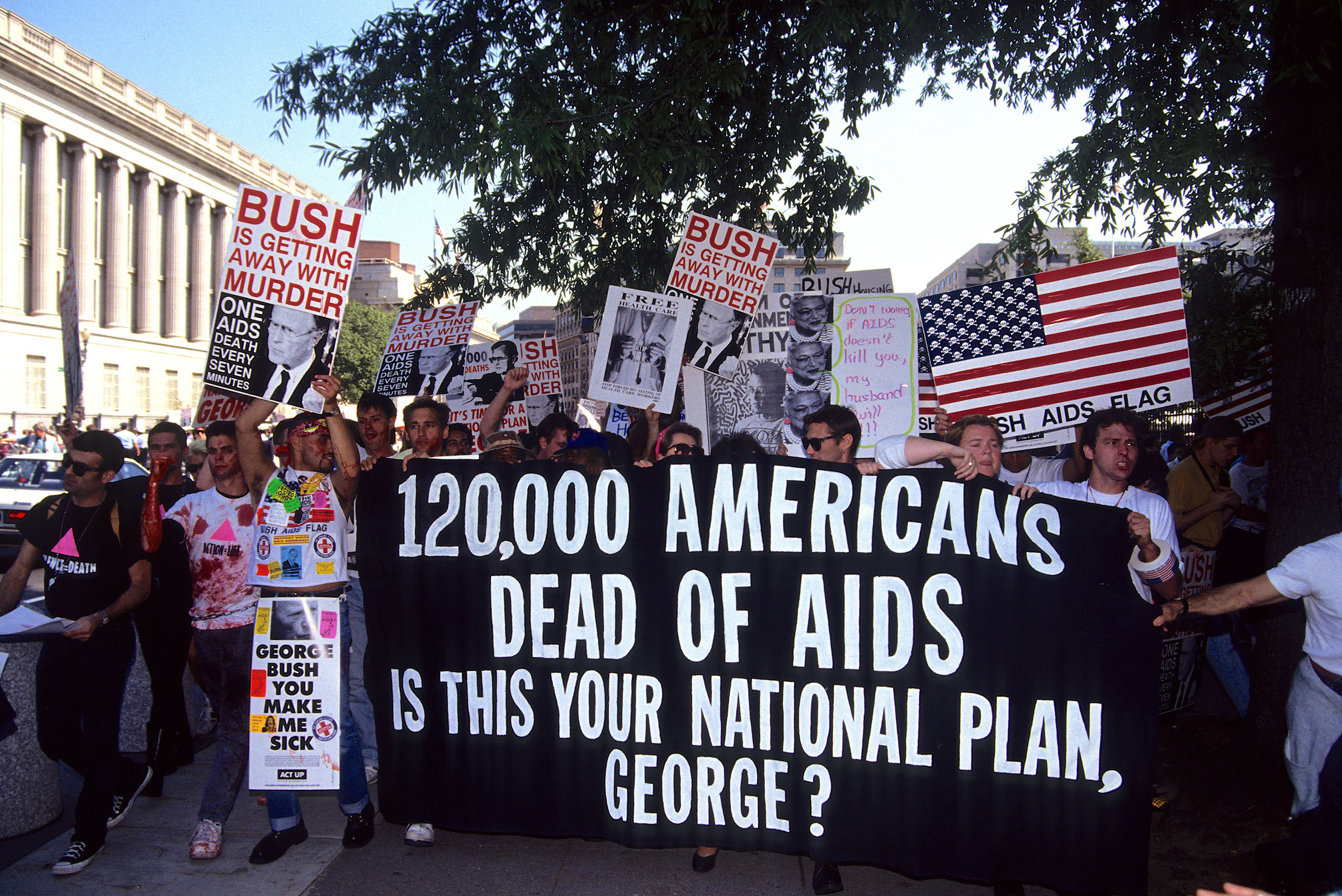ACT UP activists protest near the White House in Washington, D.C., on Sept. 30, 1991.