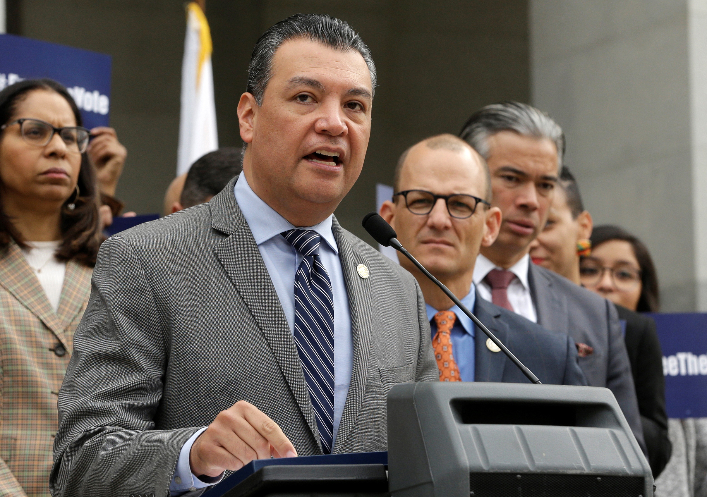 In this Jan. 28, 2019, file photo, California Secretary of State Alex Padilla talks during a news conference at the Capitol in Sacramento, Calif. California Gov. Gavin Newsom appointed Secretary of State Alex Padilla on Tuesday, Dec. 22, 2020, as the state's next U.S. senator to fill the seat being vacated by Vice President-elect Kamala Harris.