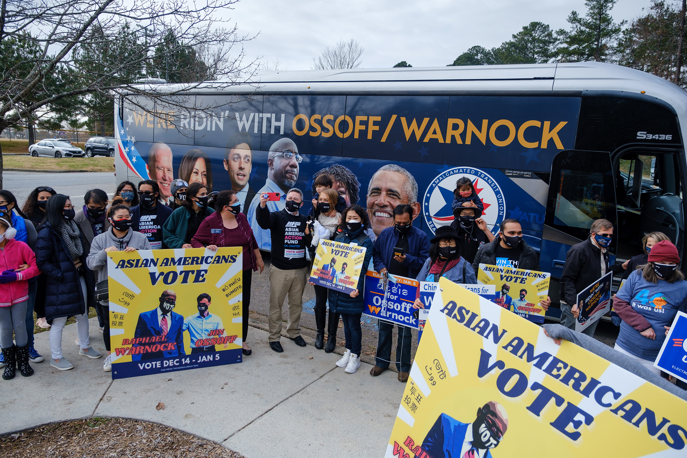 Supporters of Democratic senate candidates Rev. Raphael Warnock and Jon Ossoff gather at Shorty Howell Park in Duluth, Georgia on Dec. 20 for a  K-Pop Dance Rally  early voting event. The event was organized by the Georgia chapter of the Asian American Action Fund, a Democratic PAC