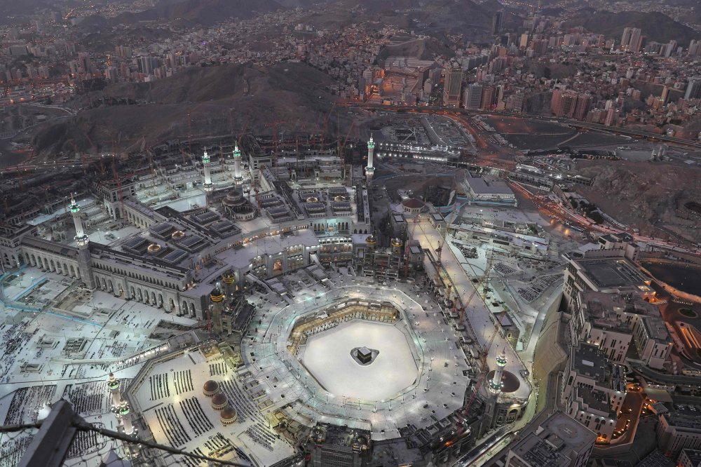 An eerie emptiness enveloped the area surrounding the Kaaba in Mecca's Grand Mosque, Islam's holiest site, on March 6, as attendance at Friday prayers was hit by measures to protect against COVID-19.