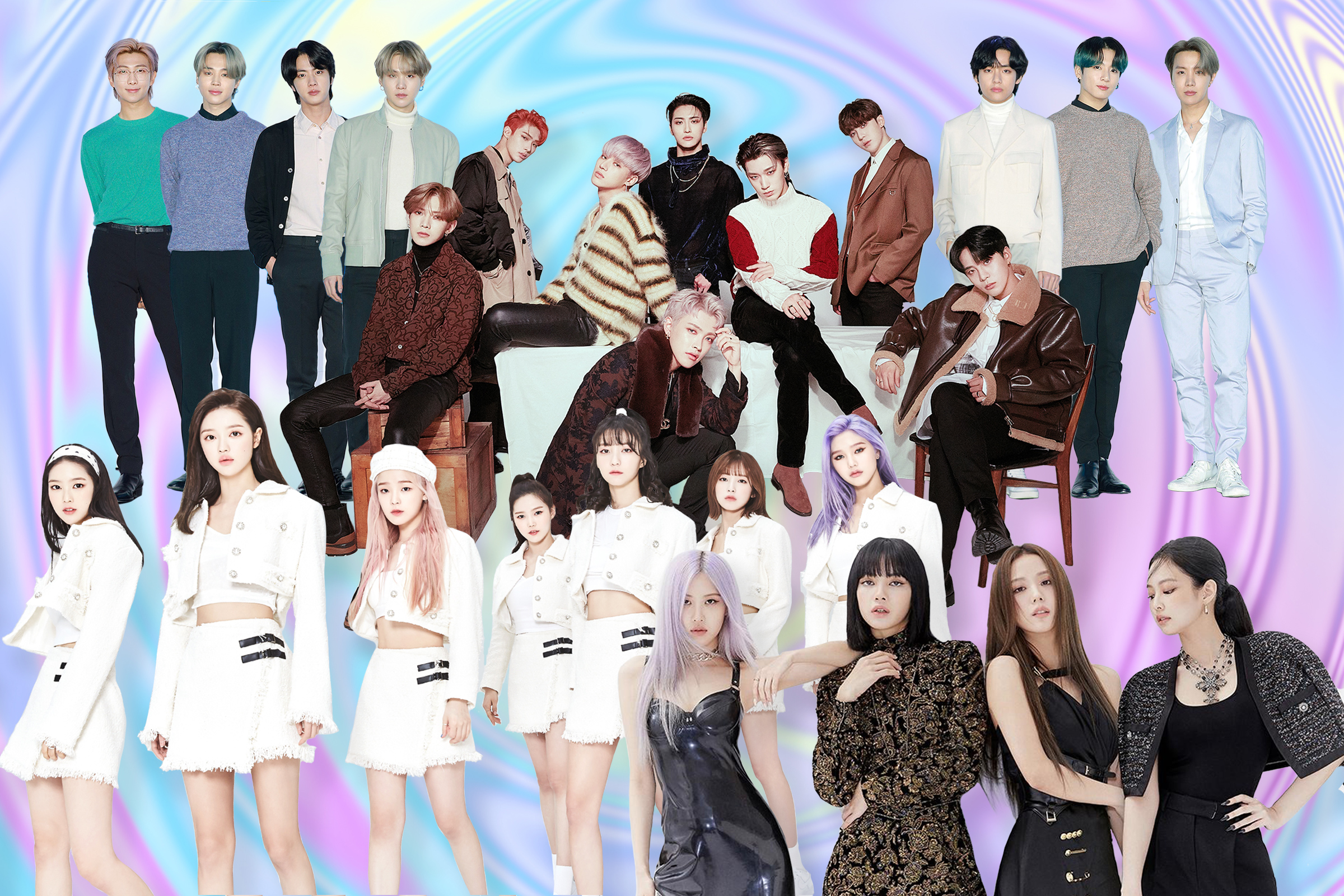 From top: BTS, ATEEZ, Oh My Girl, and Blackpink