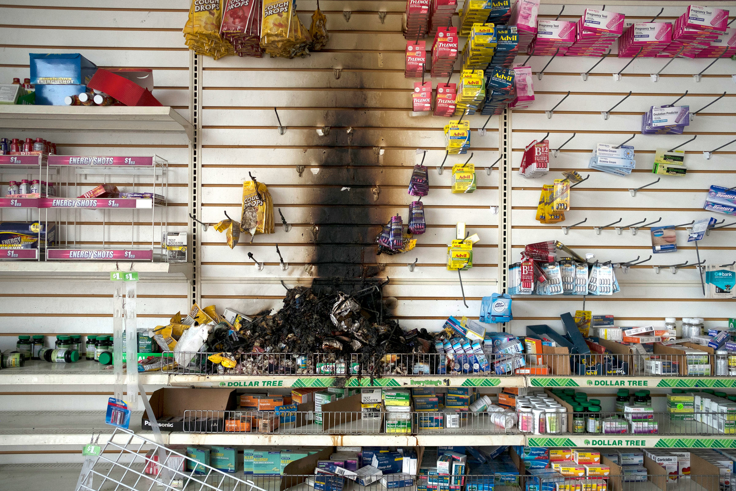 Fire damage is seen inside a Dollar Tree in Minneapolis on May 28, following nights of protests and vandalism in response to the police killing of George Floyd three days earlier.