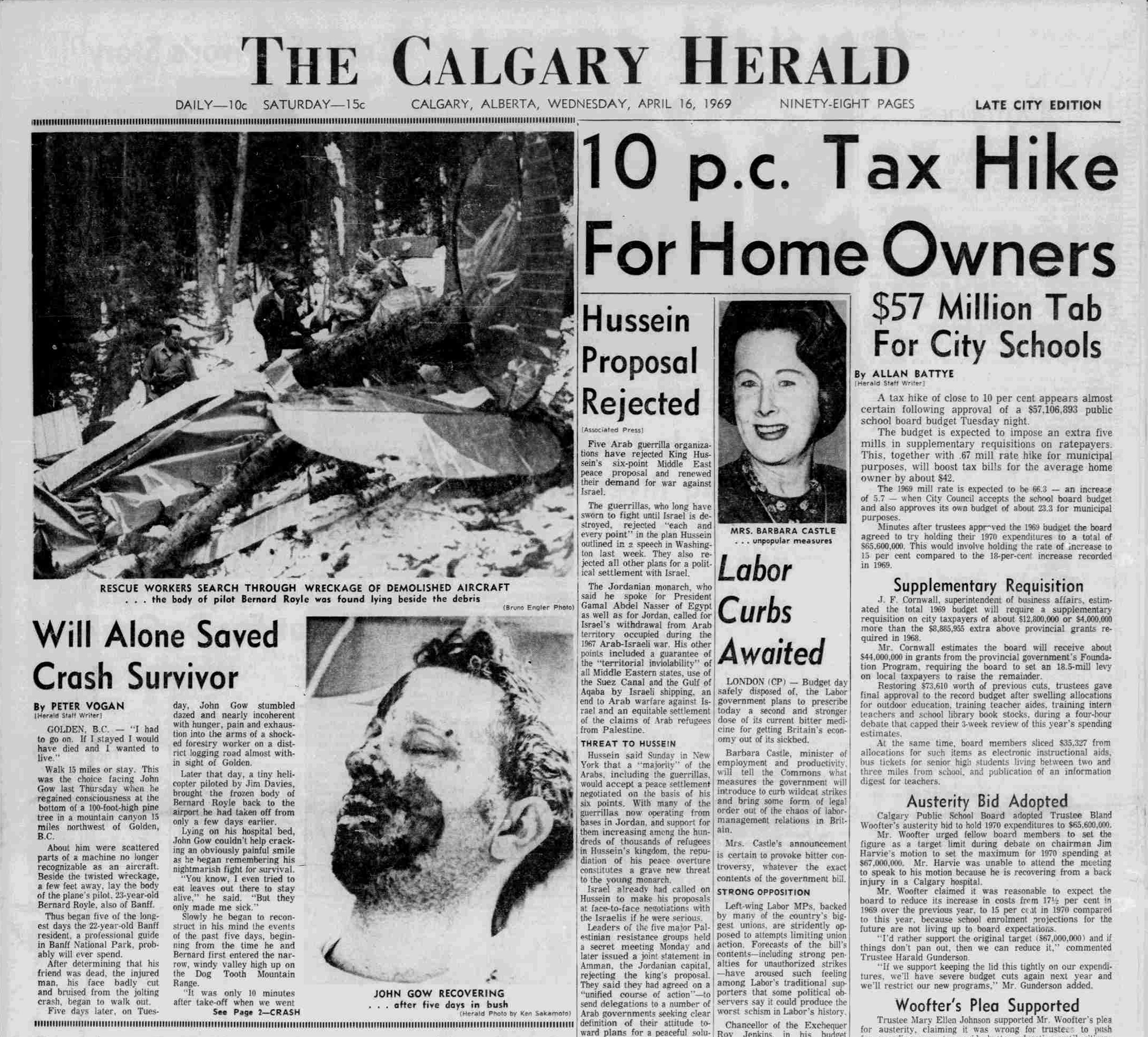 The front page of The Calgary Herald (cropped), April 16, 1969