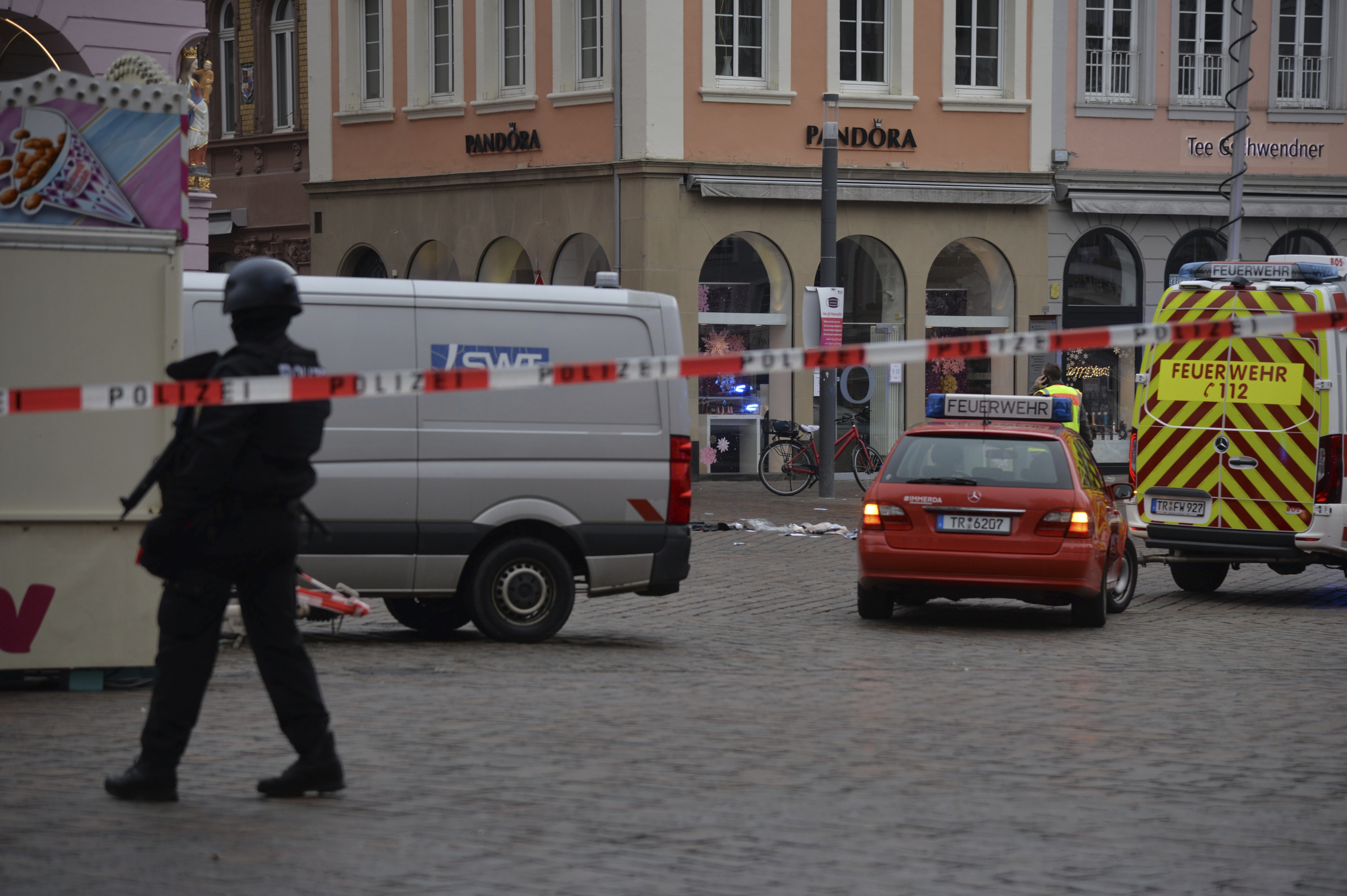 A square is blocked by the police in Trier, Germany, Tuesday, Dec. 1, 2020.