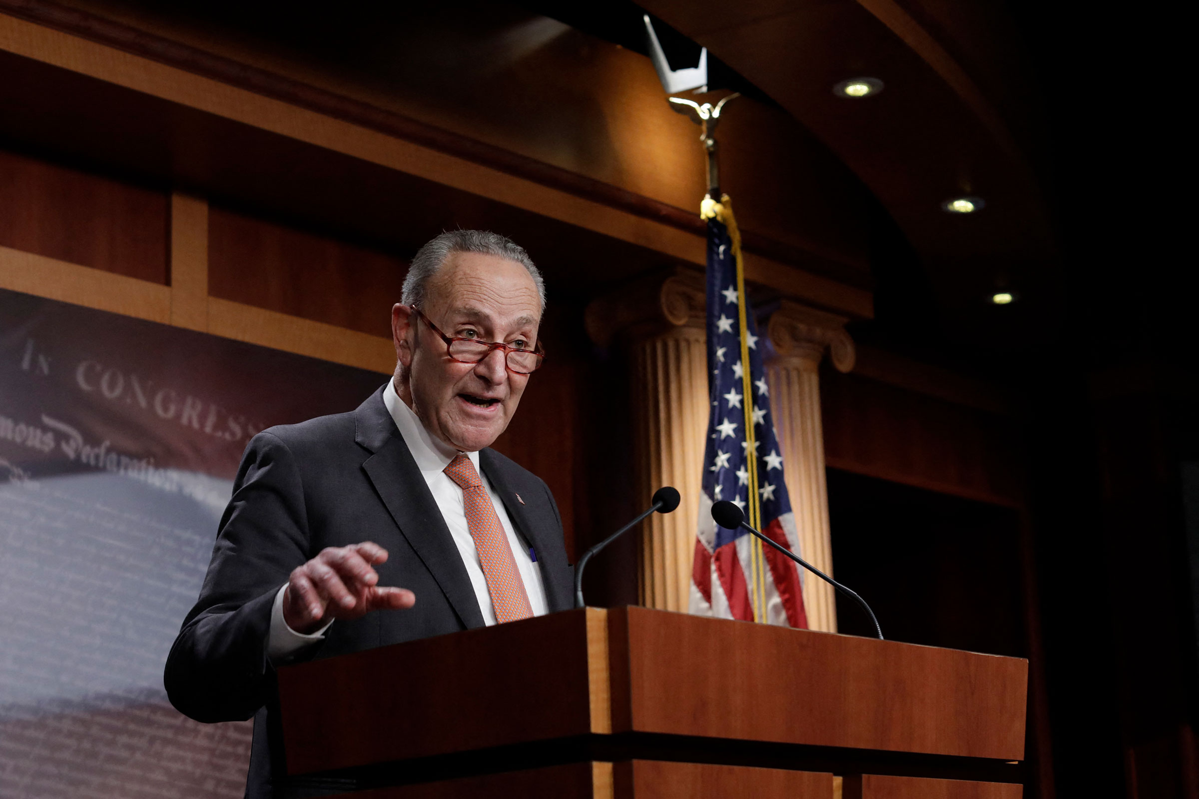 Senate Minority Leader Chuck Schumer speaks during a press conference with members of the House Democratic Caucus on Capitol Hill in Washington on Dec. 8, 2020.