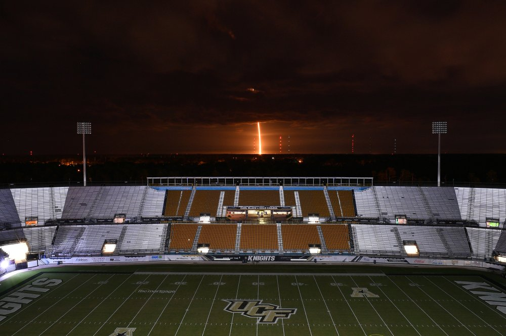 A view of the SpaceX Falcon 9 rocket launch, as seen from the UCF Knights' stadium in Orlando on Nov. 15.