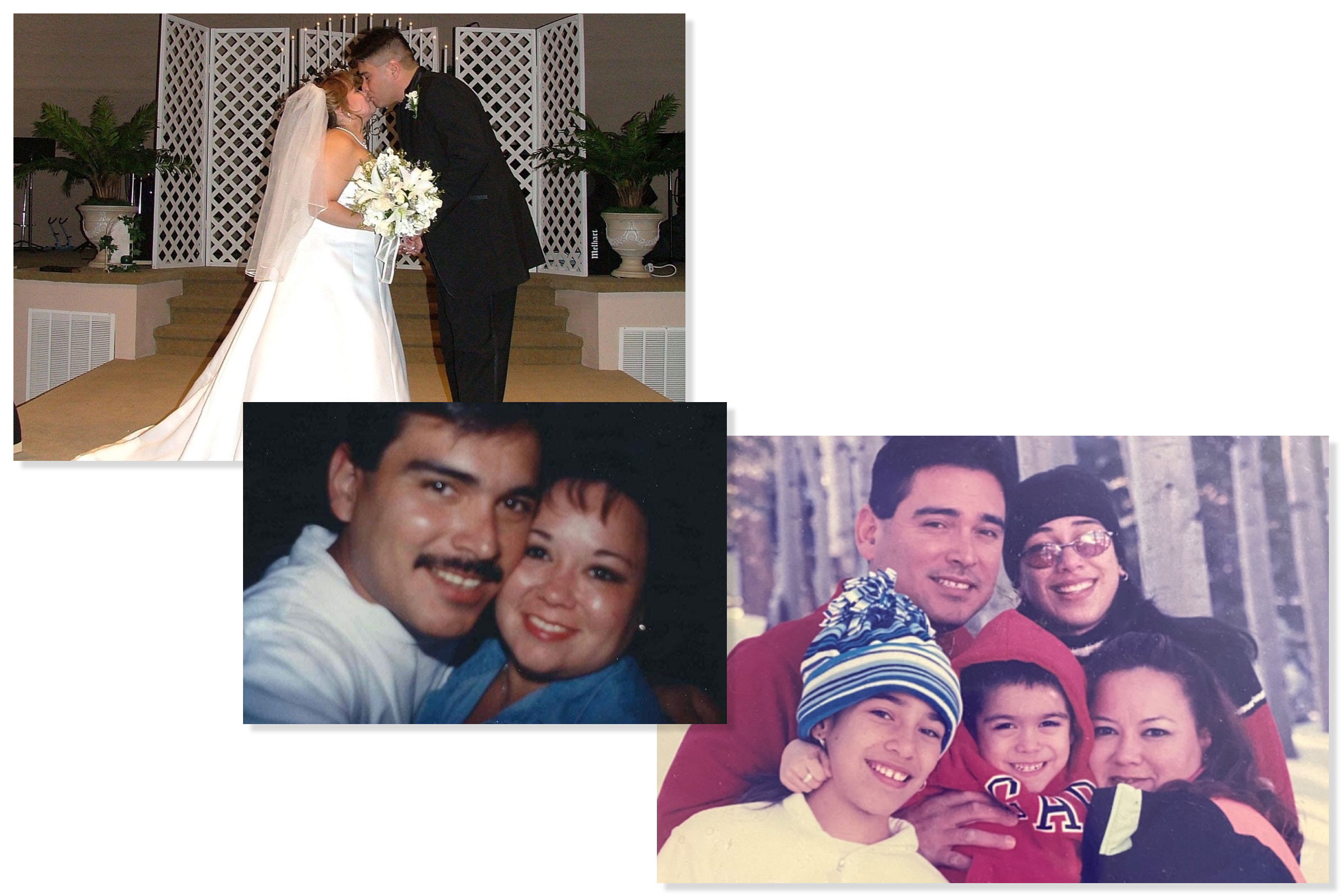 Randy Hinojosa and his late wife Elisa are pictured, top left, at their wedding in 2003. The two met 26 years ago. They share three children, including a 23-year-old son and two daughters, age 28 and 31. Elisa died of COVID-19 in a Texas hospital on Oct. 25.