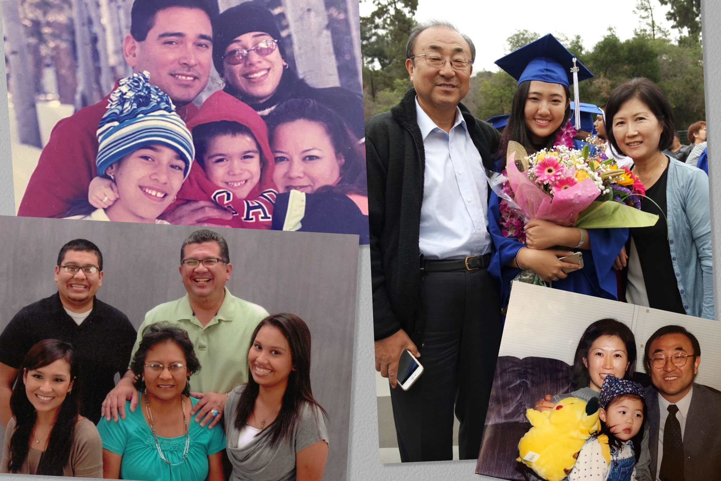 Clockwise from top left: The Hinojosa family; Hannah Hae In Kim and her parents (2); The Kellogg family