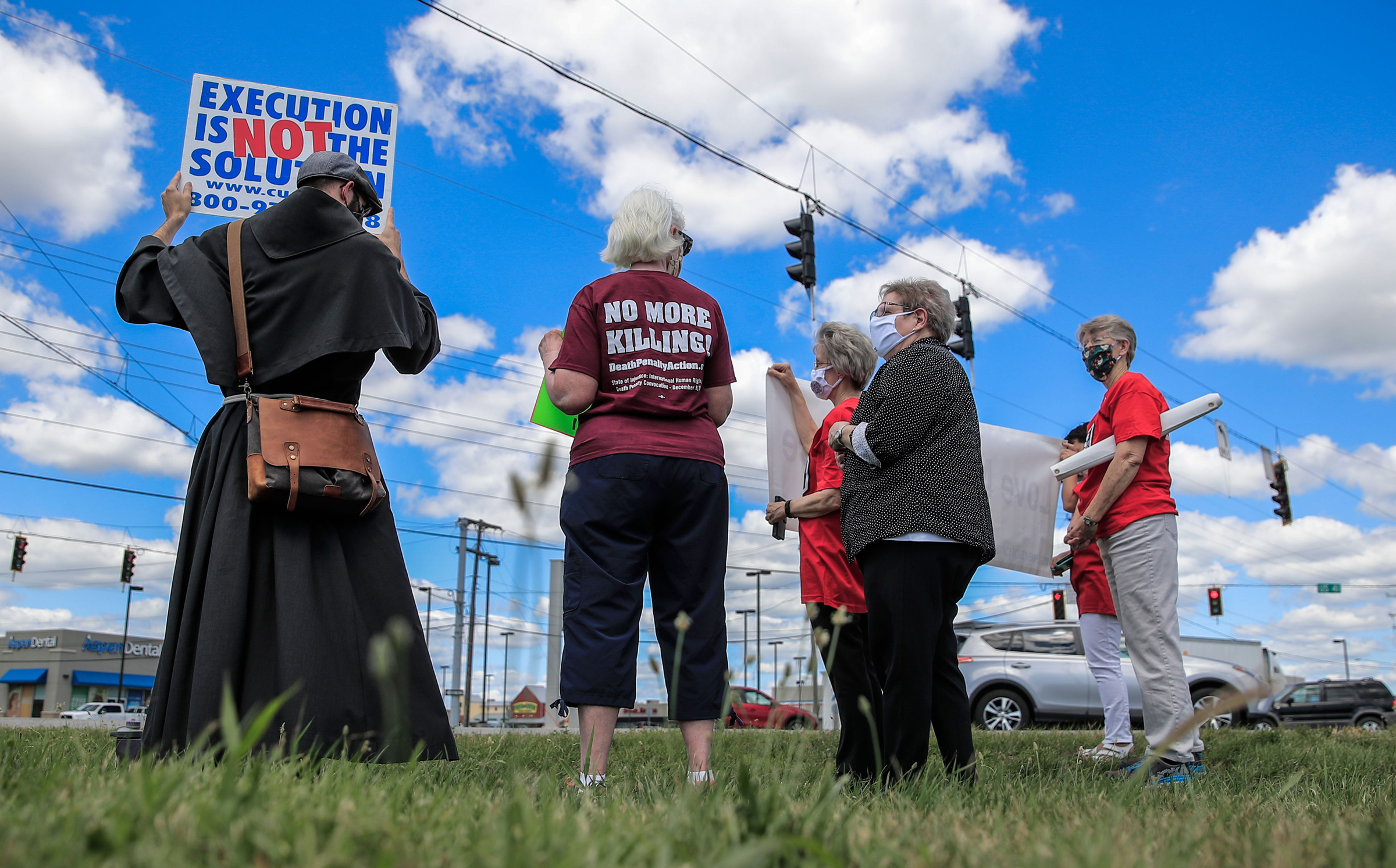 A protest in July against the resumption of federal executions near the U.S. penitentiary and execution chamber in Terre Haute, Ind.