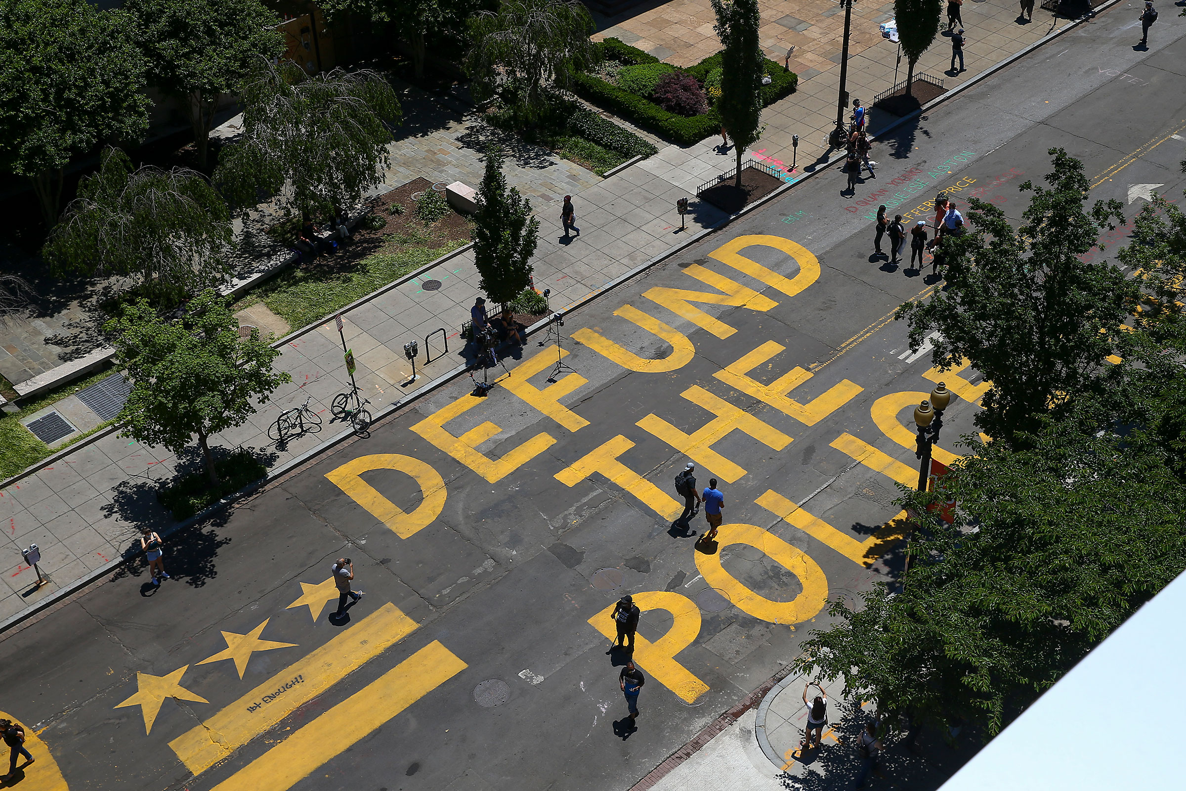 """Defund The Police"" was painted on the street near the White House in Washington, D.C."