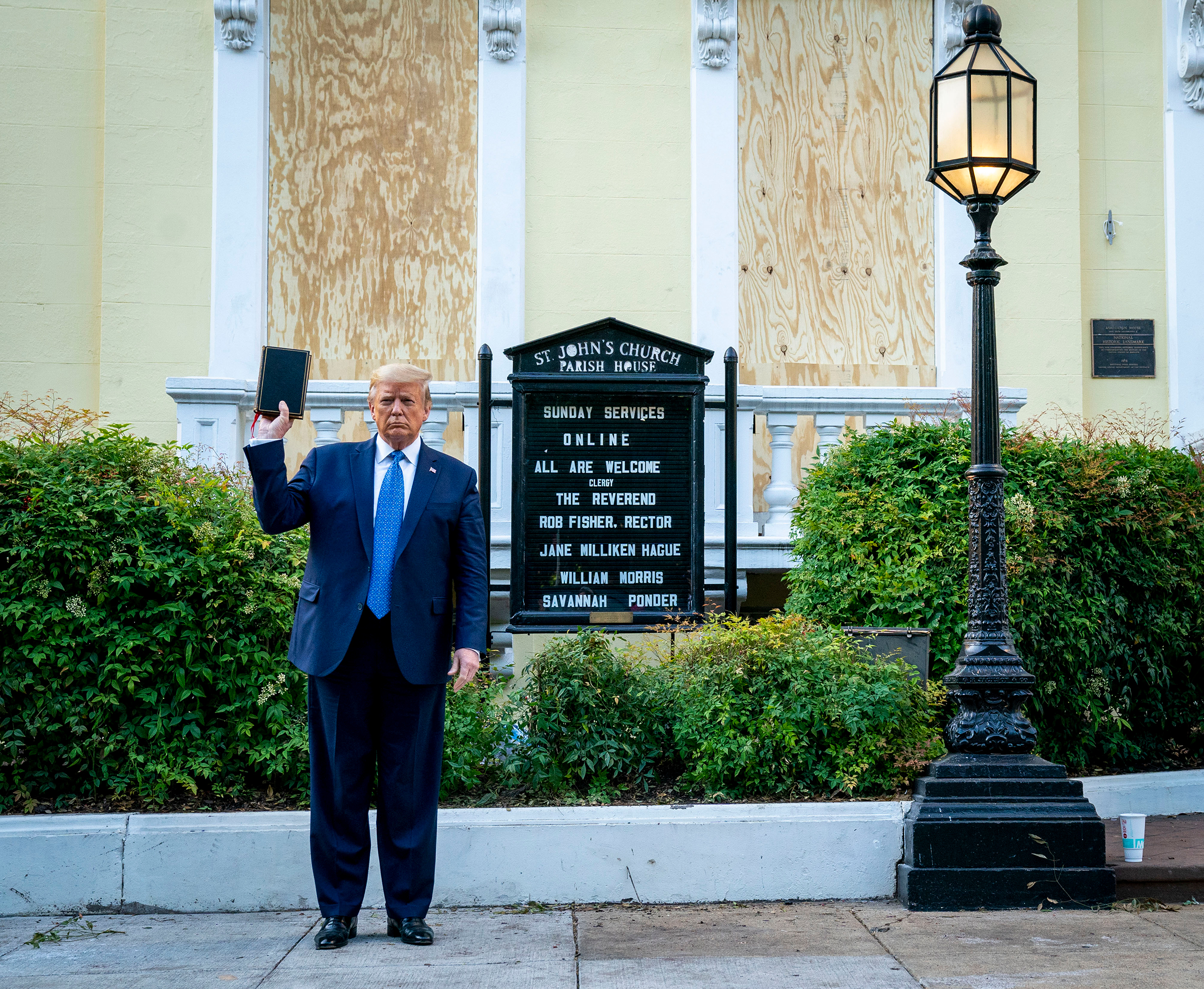 President Trump holds a Bible in front of St. John's Church in Washington, D.C., on June 1.  Trump's moment—for him to look in control of the two-block radius around his home and to stand with a Bible in front of a church—came at a huge cost,  wrote Brian Bennett,  using the full force of the federal government to quash a peaceful protest and raising echoes of martial law.