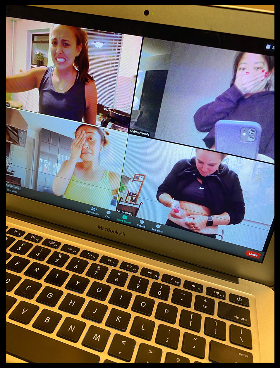 "Unable to see friends in person during the pandemic, Kari Arenberg, bottom right, relieved her nerves about self-administering hormone injections by sharing the process with friends over video chat The hormone shots cause ""a lot of bloating and cramping and emotions,"" says Arenberg. ""It's not exactly conducive to getting work done. It literally feels like you're carrying around a sack of eggs."