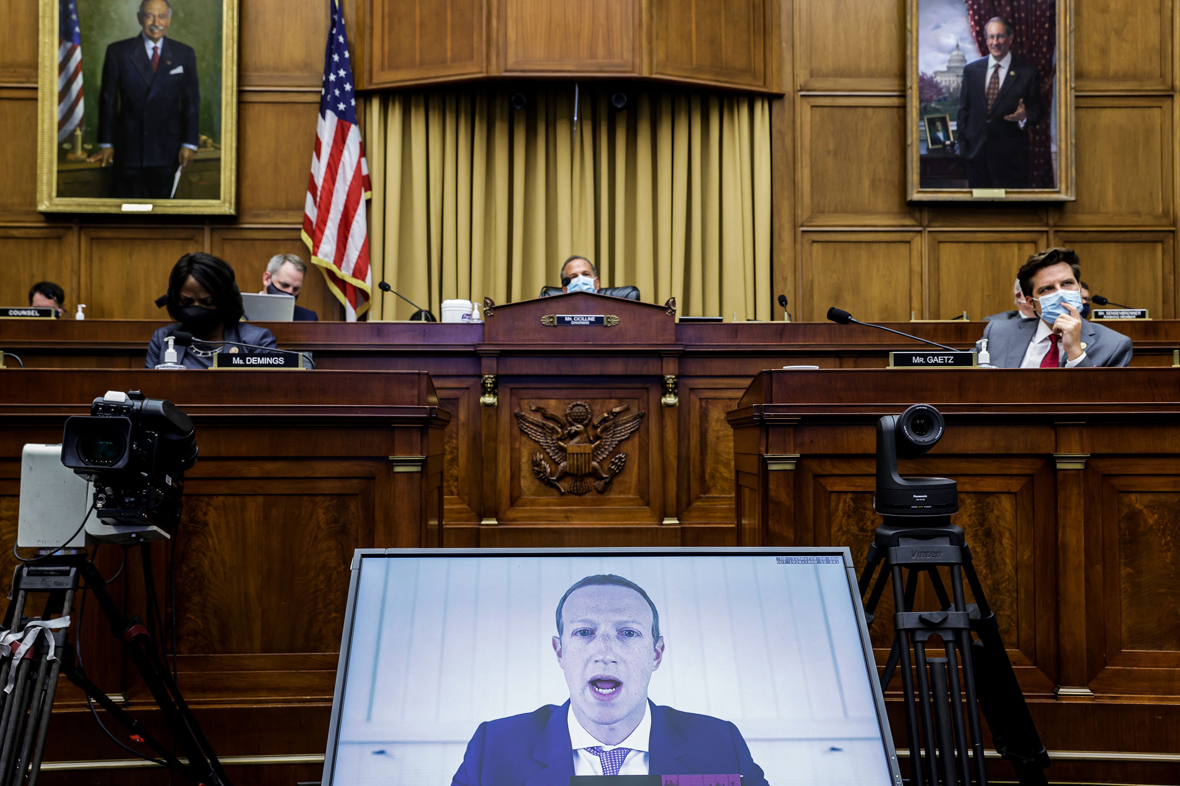 Facebook CEO Mark Zuckerberg speaks via video conference during the House Judiciary Subcommittee on Antitrust on Capitol Hill in Washington on July 29, 2020.