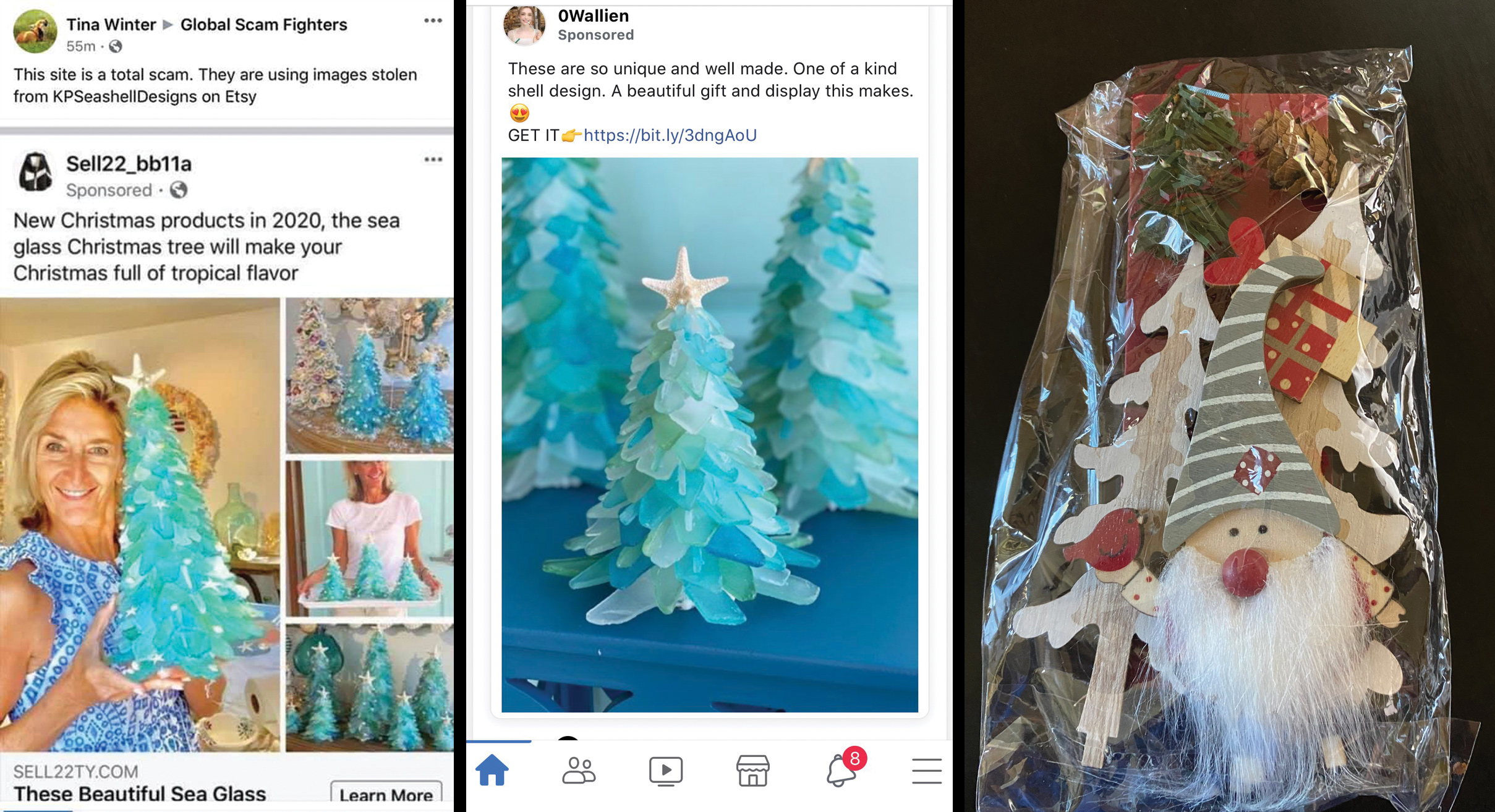 Kristi Pimentel, left, had photos of her and her sea glass trees stolen and put onto scam advertisements on Facebook, left and center; Heather Hopper purchased three and says she instead was sent a gnome, right.