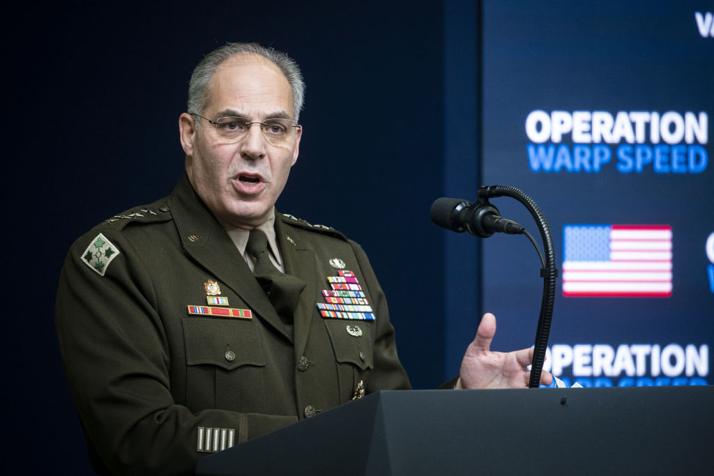 General Gustave Perna, chief operating officer for the Defense Department's Operation Warp Speed project, speaks during a vaccine summit on Dec. 8, 2020, at the White House in Washington, D.C.