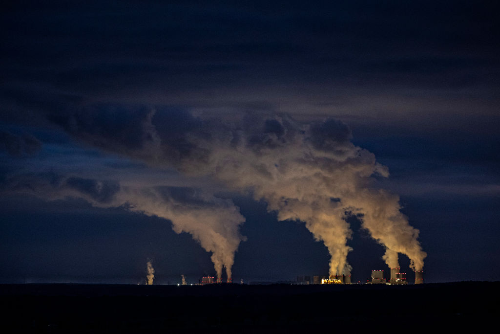 The coal-fired power stations of Boxberg (R) and Schwarze Pumpe (L) are pictured on October 17, 2020 in Torga, Germany.