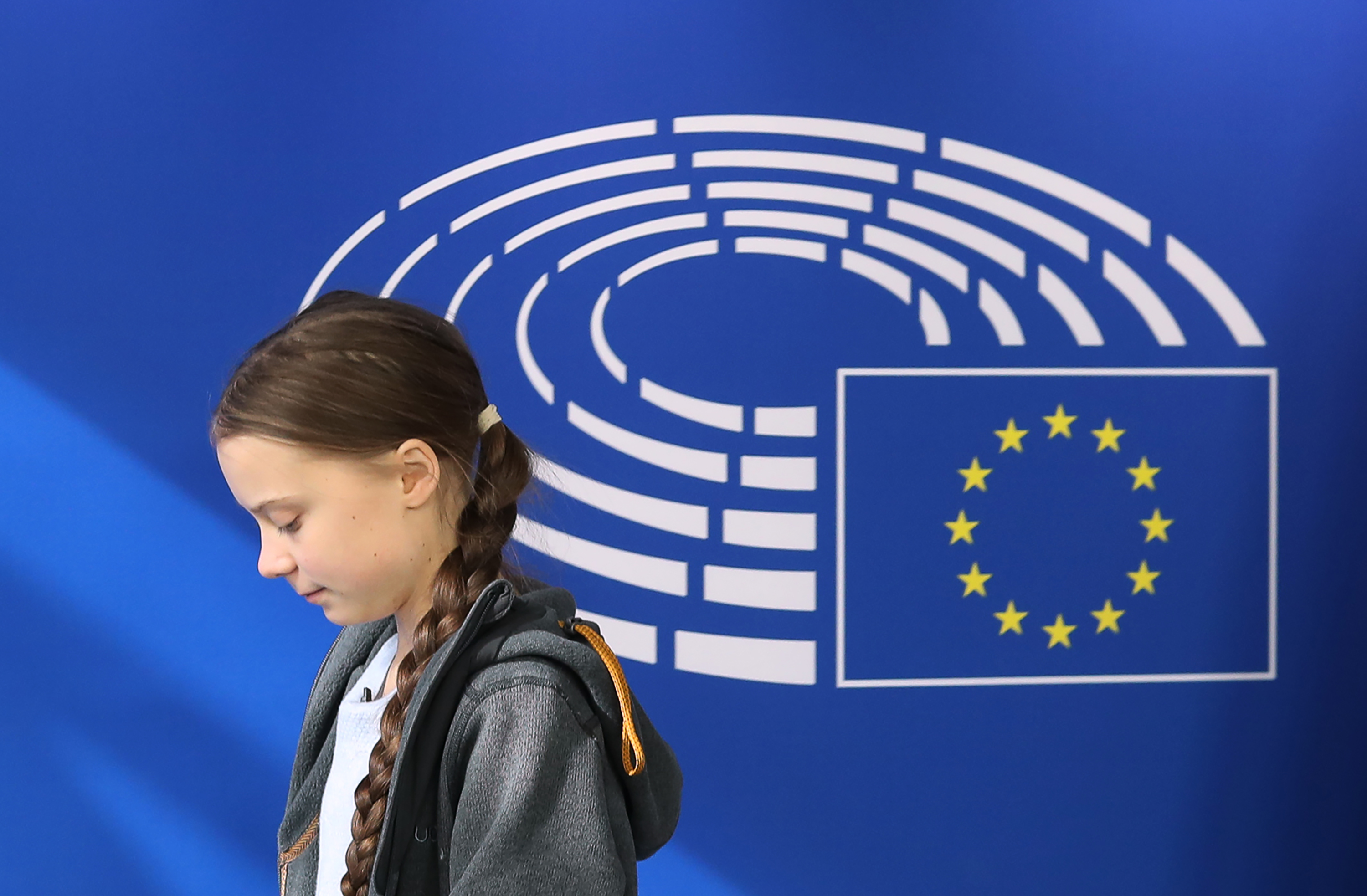 Greta Thunberg arrives at the European Parliament in Brussels on March 4, 2020, on the day the European Union unveiled a landmark law to achieve  climate neutrality  by 2050.