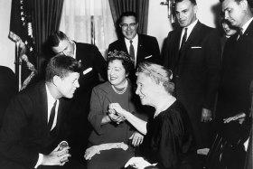 Helen Keller visits President John F. Kennedy, April 8, 1961.