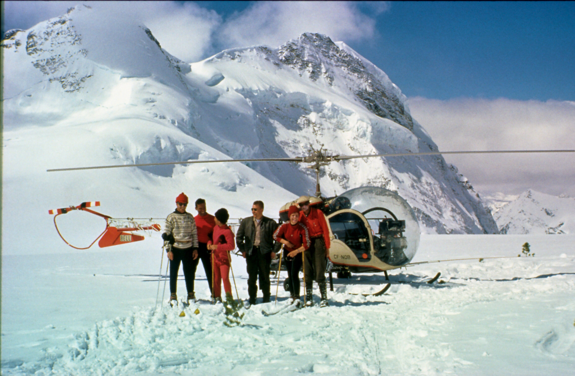 Hans Gmoser and the first crew heliskiing in the Bugaboos in British Columbia, Canada in 1969
