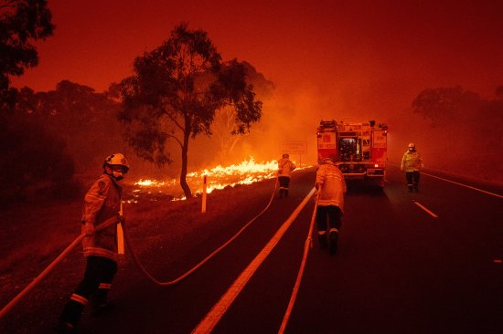 Firefighters on the outskirts of Bredbo, New South Wales, Australia, on Feb.1