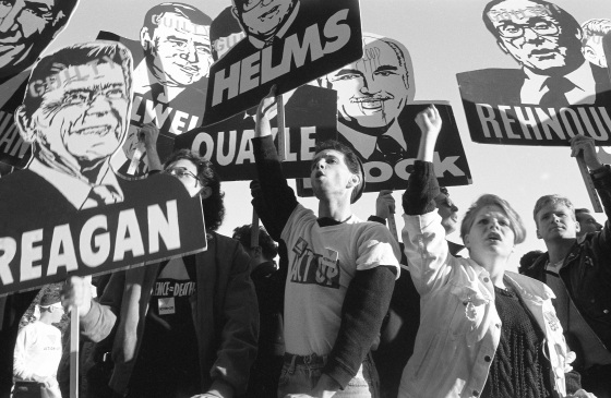 ACT UP activists protest at the Food and Drug Administration headquarters in Rockville, Md., on Oct. 11, 1988.