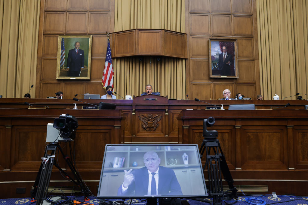 Amazon CEO Jeff Bezos testifies via video conference during an antitrust hearing on July 29, 2020 in Washington, DC.