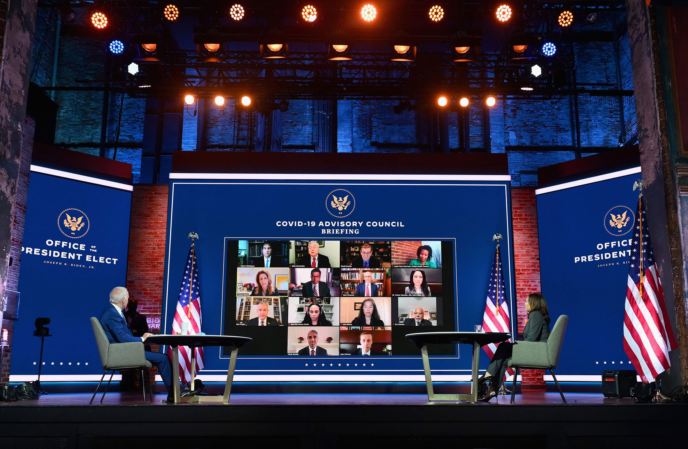President-elect Joe Biden and Vice President-elect Kamala Harris speak virtually with the Covid-19 Advisory Council during a briefing at The Queen theatre on Nov. 9, 2020 in Wilmington, Del.