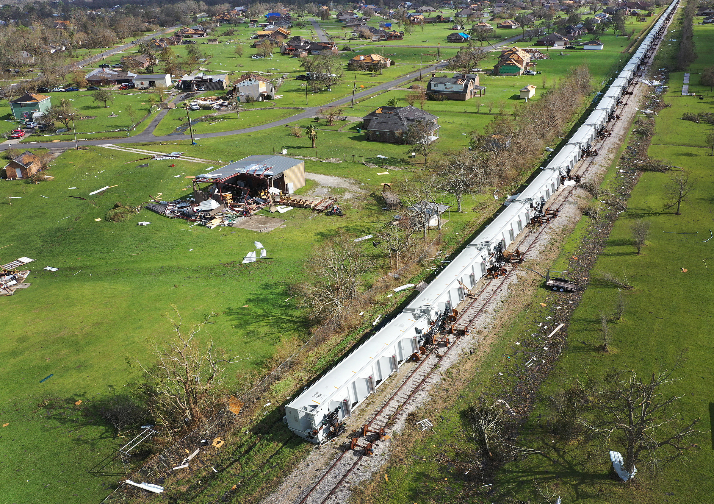An aerial view from a drone shows railcars that derailed as Hurricane Laura passed through the area in Lake Charles, La., on Aug. 29.