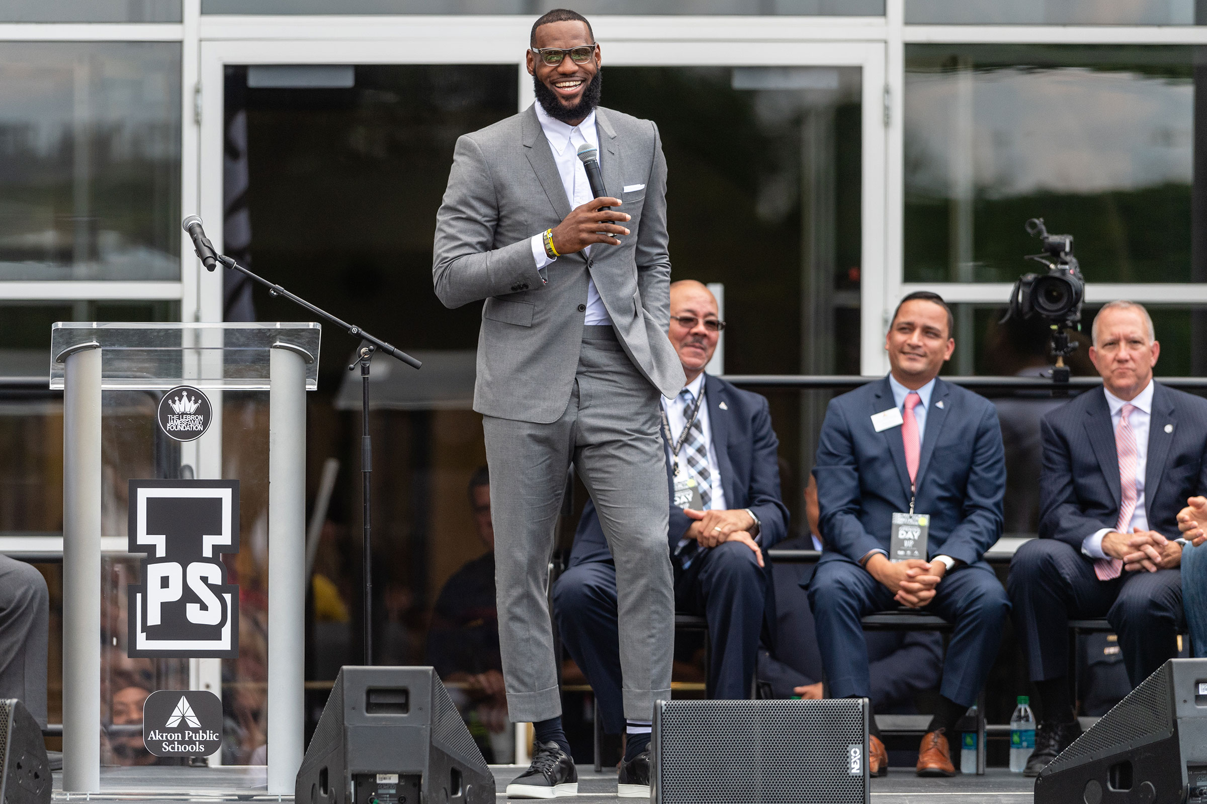 LeBron James addresses the crowd during the opening ceremonies of the I Promise School in Akron, Ohio on July 30, 2018.
