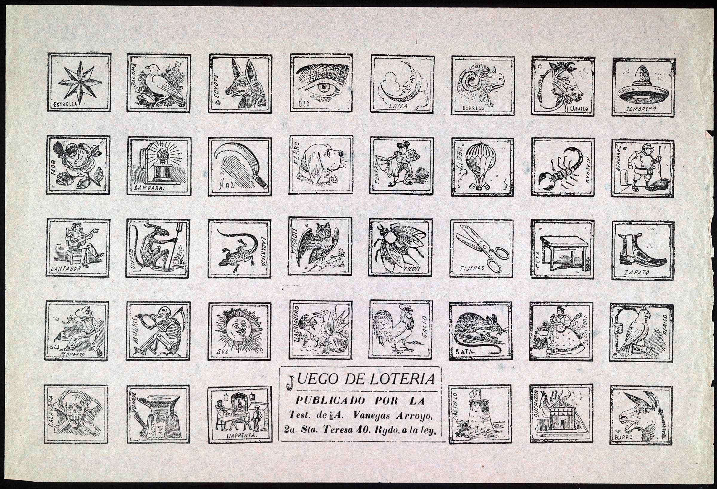 Lotería game by José Guadalupe Posada, published in Mexico City between 1909 and 1920.