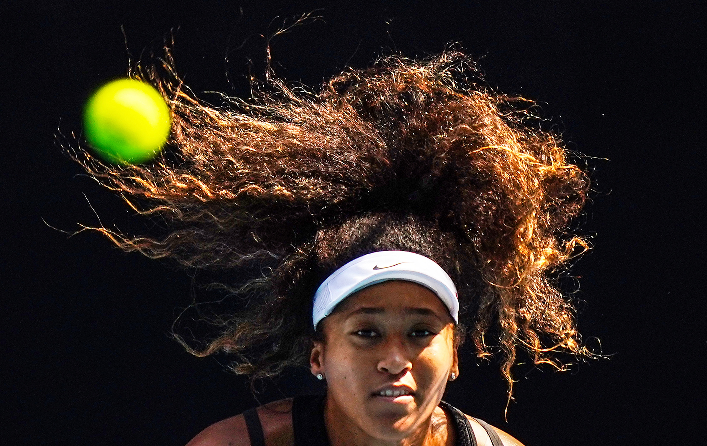 Naomi Osaka of Japan takes part in an Australian Open practice session in Melbourne on Jan. 18.