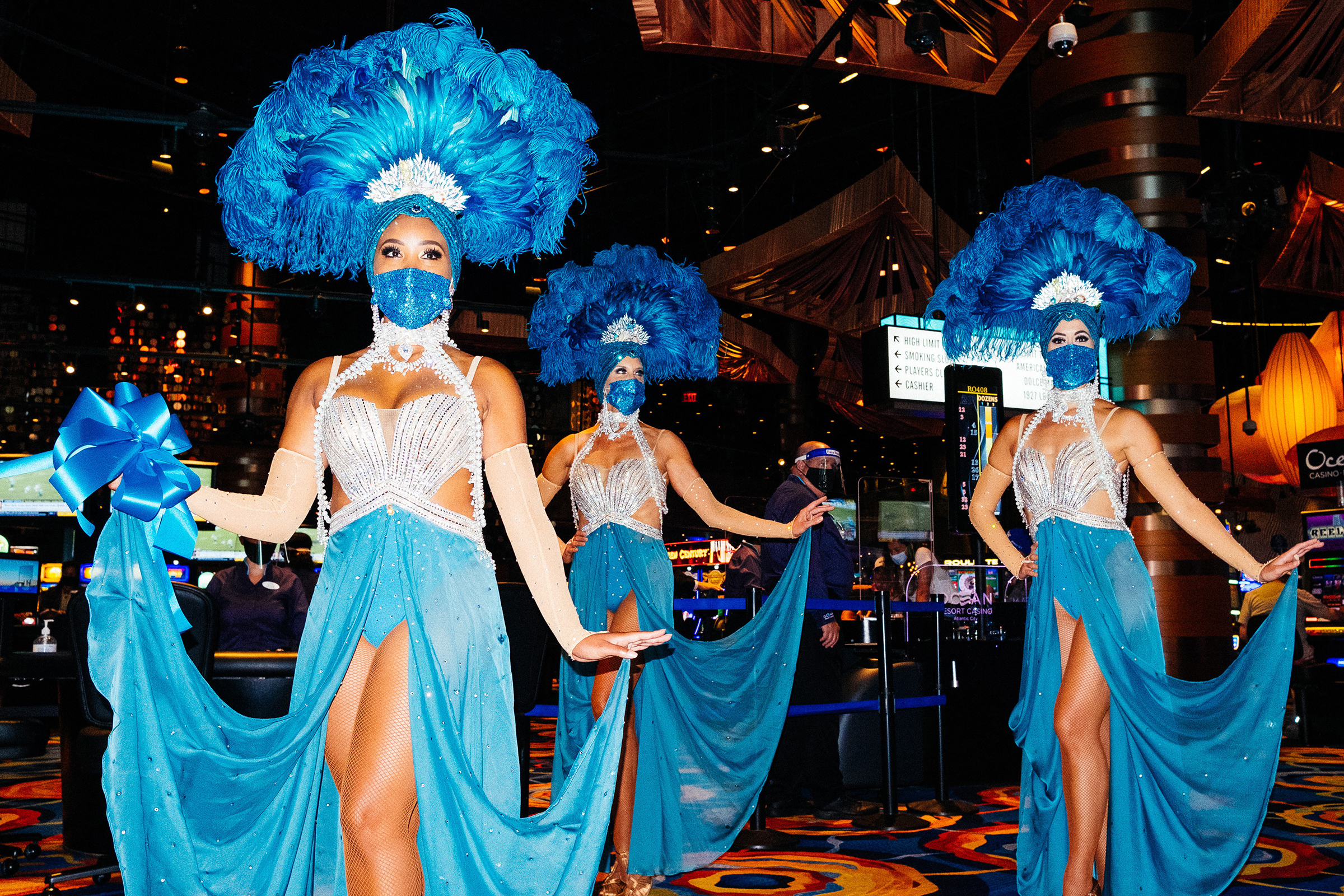 Showgirls wearing protective masks are seen inside Atlantic City's Ocean Casino Resort on July 2.