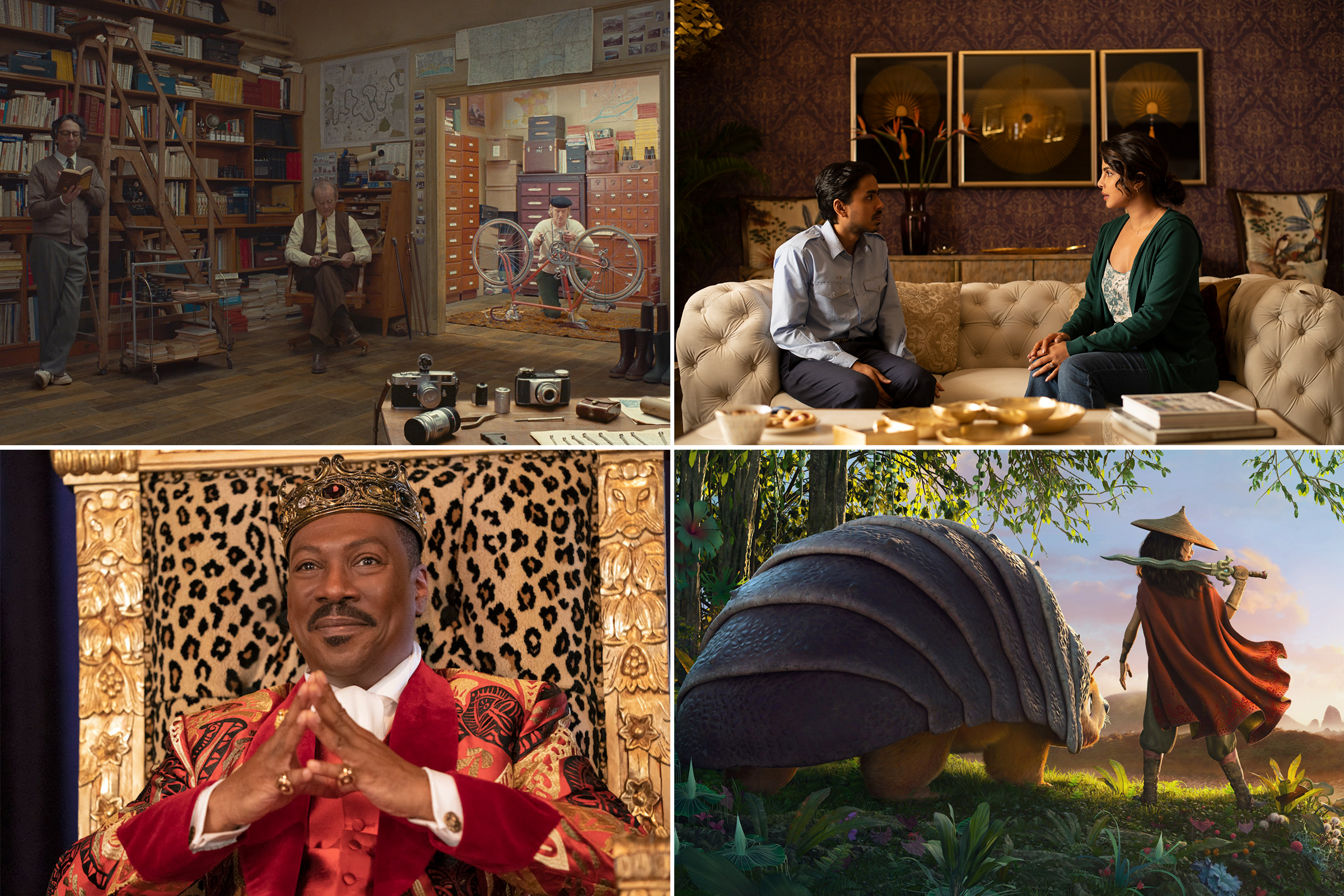 Clockwise from top left: Wally Wolodarsky, Bill Murray and Owen Wilson in The French Dispatch; ​Adarsh Gourav and Priyanka Chopra in White Tiger; Raya and the Last Dragon; Eddie Murphy in Coming 2 America