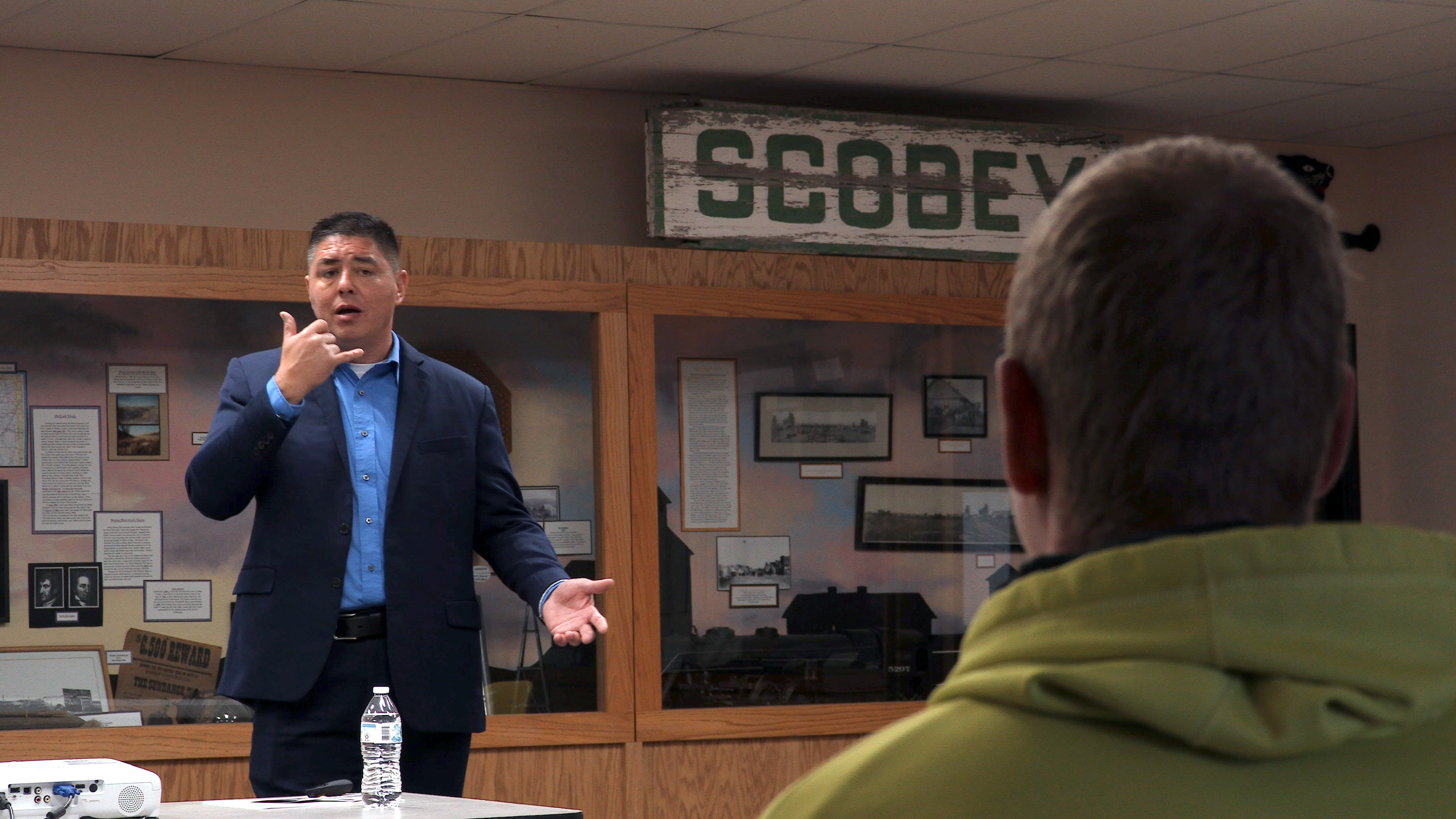 Frederick Lee presents a suicide prevention program called QPR (Question, Persuade, Refer) in Scobey, Montana. Organizations offering youth suicide intervention and prevention initiatives are struggling to sustain the same level of services during the pandemic.