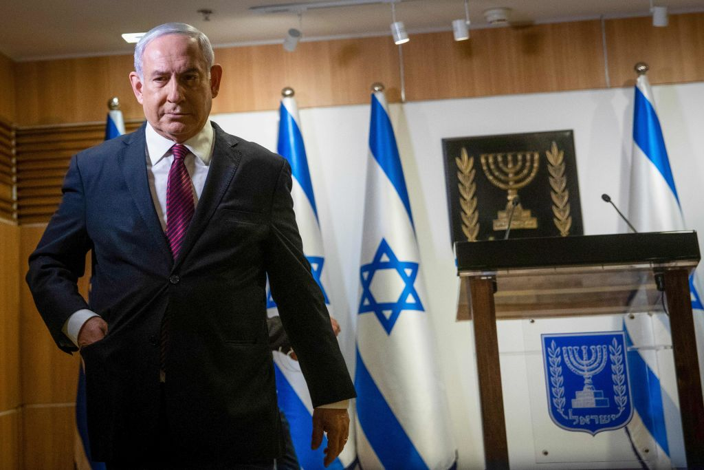Israeli Prime Minister Benjamin Netanyahu leaves after a speech at the Knesset (Israeli Parliament) in Jerusalem on Dec. 22, 2020.
