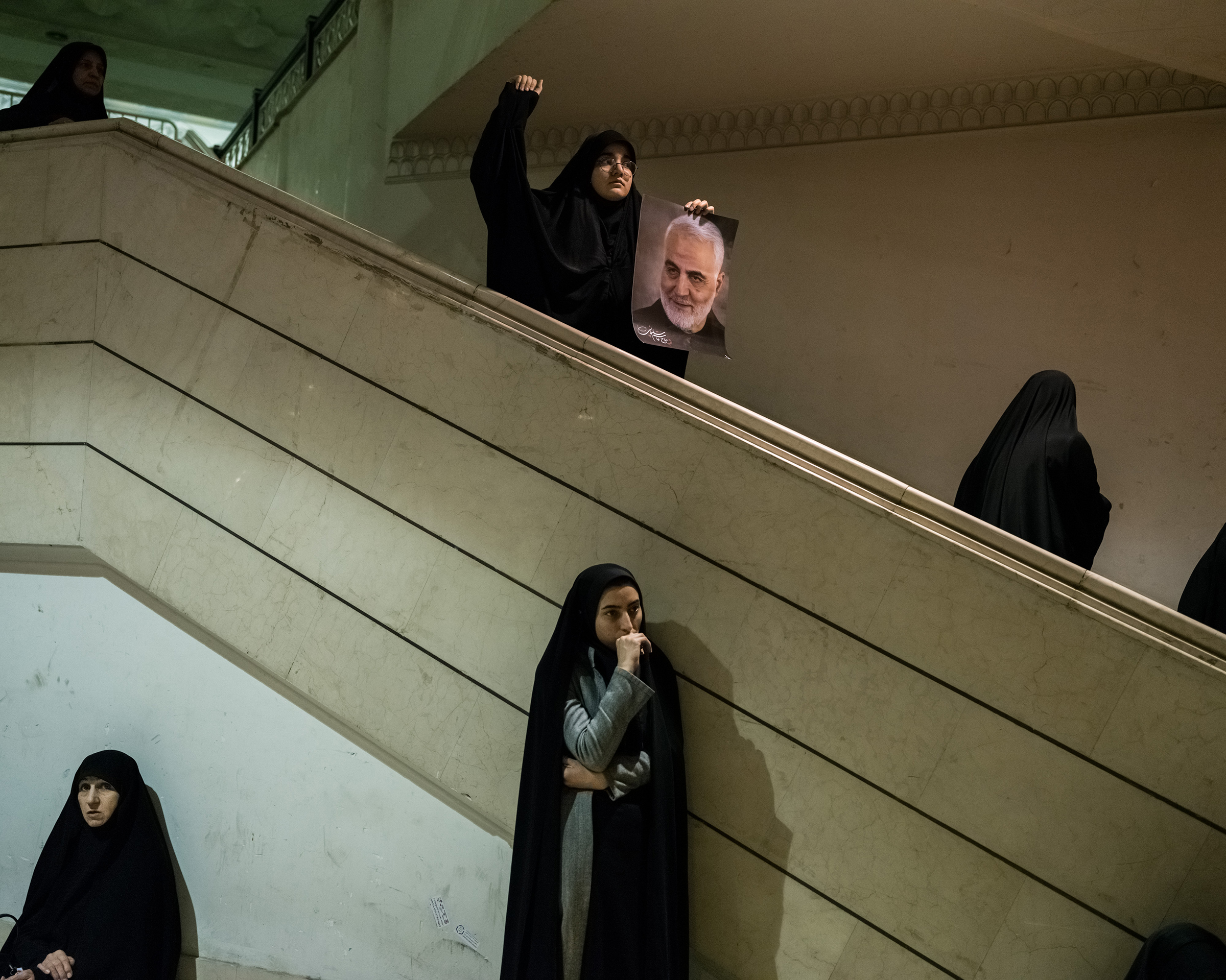 At a mosque in Tehran, on Jan. 5, Iranian women mourn Qasem Soleimani's death.