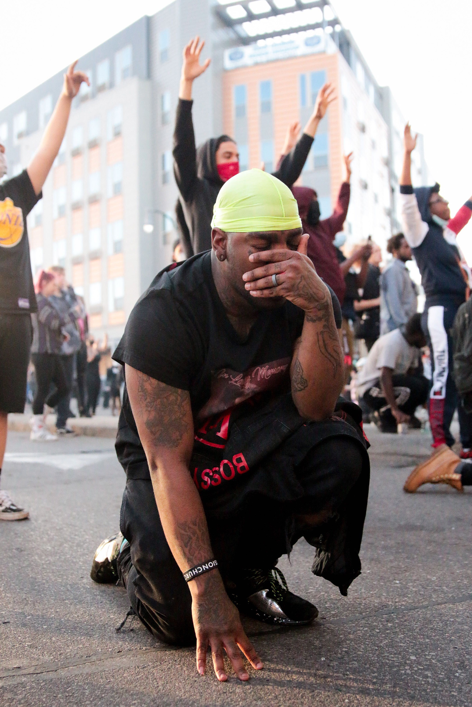 A protester has an emotional moment in Minneapolis on May 29, four days after George Floyd was killed.