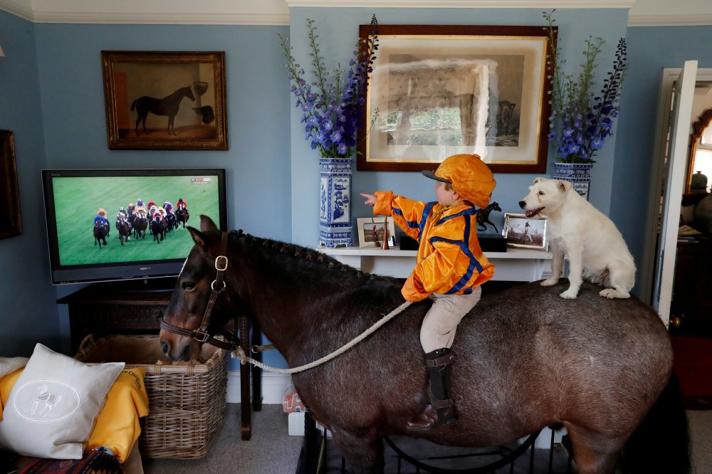 Merlin Coles, 3, watches horse racing at Royal Ascot from his home in Bere Regis, England, on June 17. The boy is sitting on his horse, Mr. Glitter Sparkles, with his dog, Mistress, as racing resumed behind closed doors.