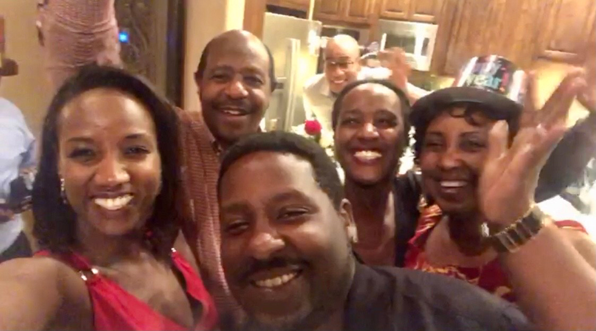 Paul Rusesabagina with his family on New Year's Eve last year.