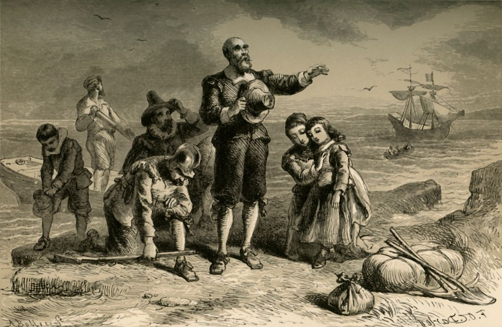 'Landing of the Pilgrims,' a 19th century illustration  of the landing at Plymouth Rock. From  Our Country: a Household History for All Readers, from the Discovery of America to the Present Time,  by Benson J. Lossing.