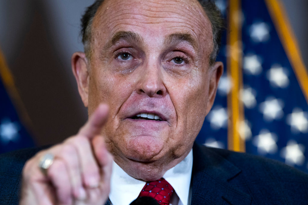 Rudolph Giuliani, attorney for President Donald Trump, conducts a news conference at the Republican National Committee on lawsuits regarding the outcome of the 2020 presidential election on Thursday, Nov. 19, 2020.