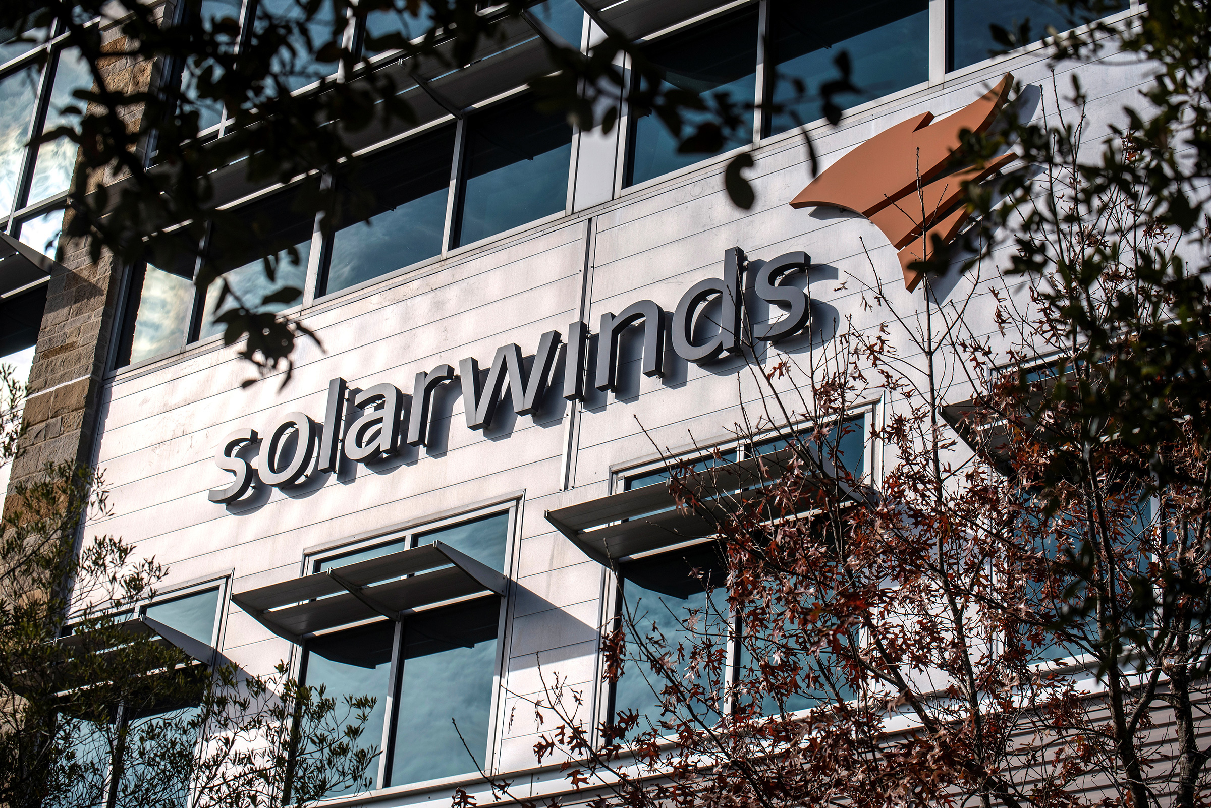The SolarWinds logo is seen outside its headquarters in Austin, Texas, on Dec. 18