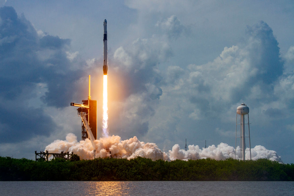 The historic May 30, 2020, launch of the manned SpaceX Crew Dragon spacecraft from the Kennedy Space Center in Cape Canaveral, Florida.