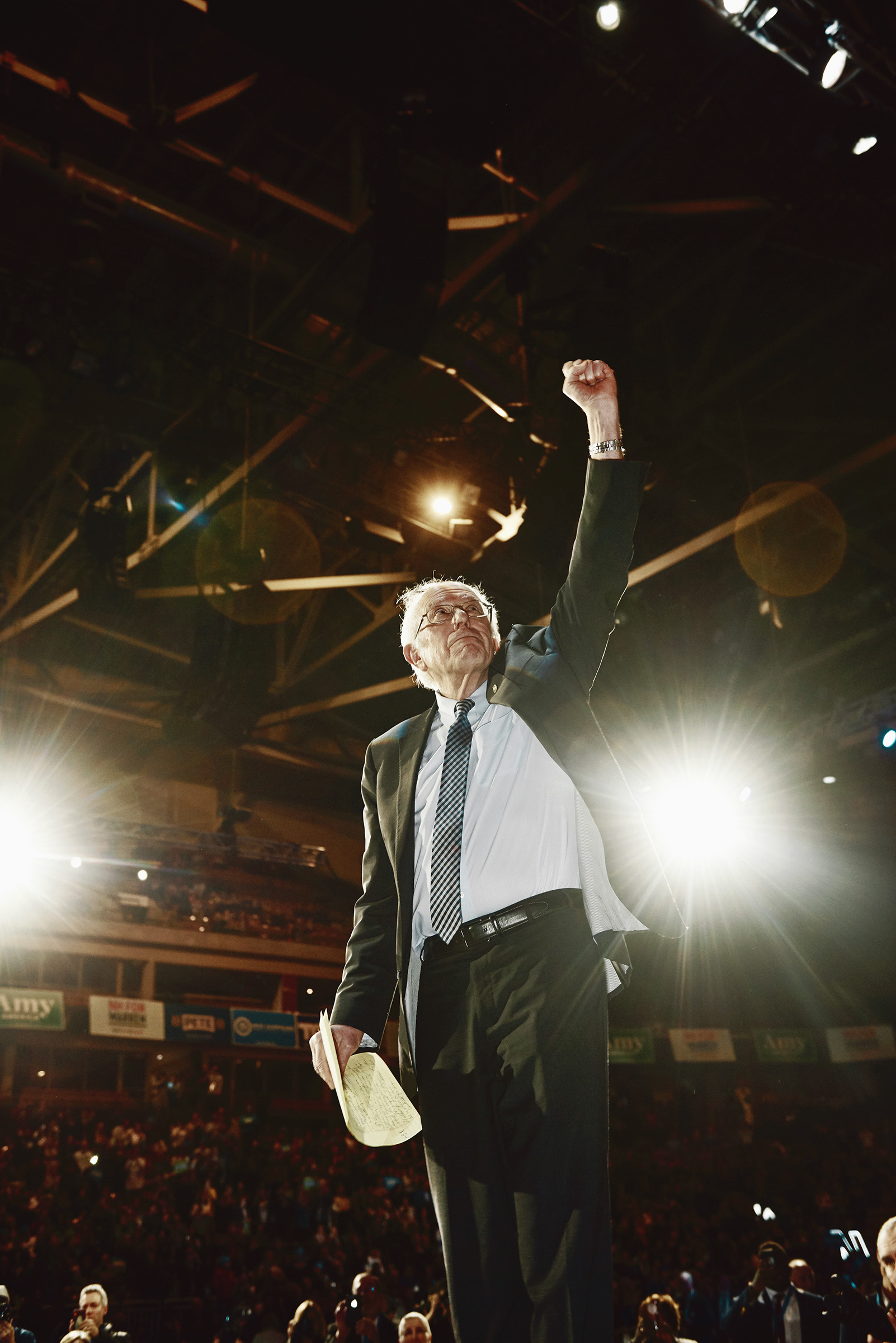 Sen. Bernie Sanders raises his fist at the New Hampshire Democratic Party's McIntyre-Shaheen 100 Club Event in Manchester, N.H., on Feb. 8.