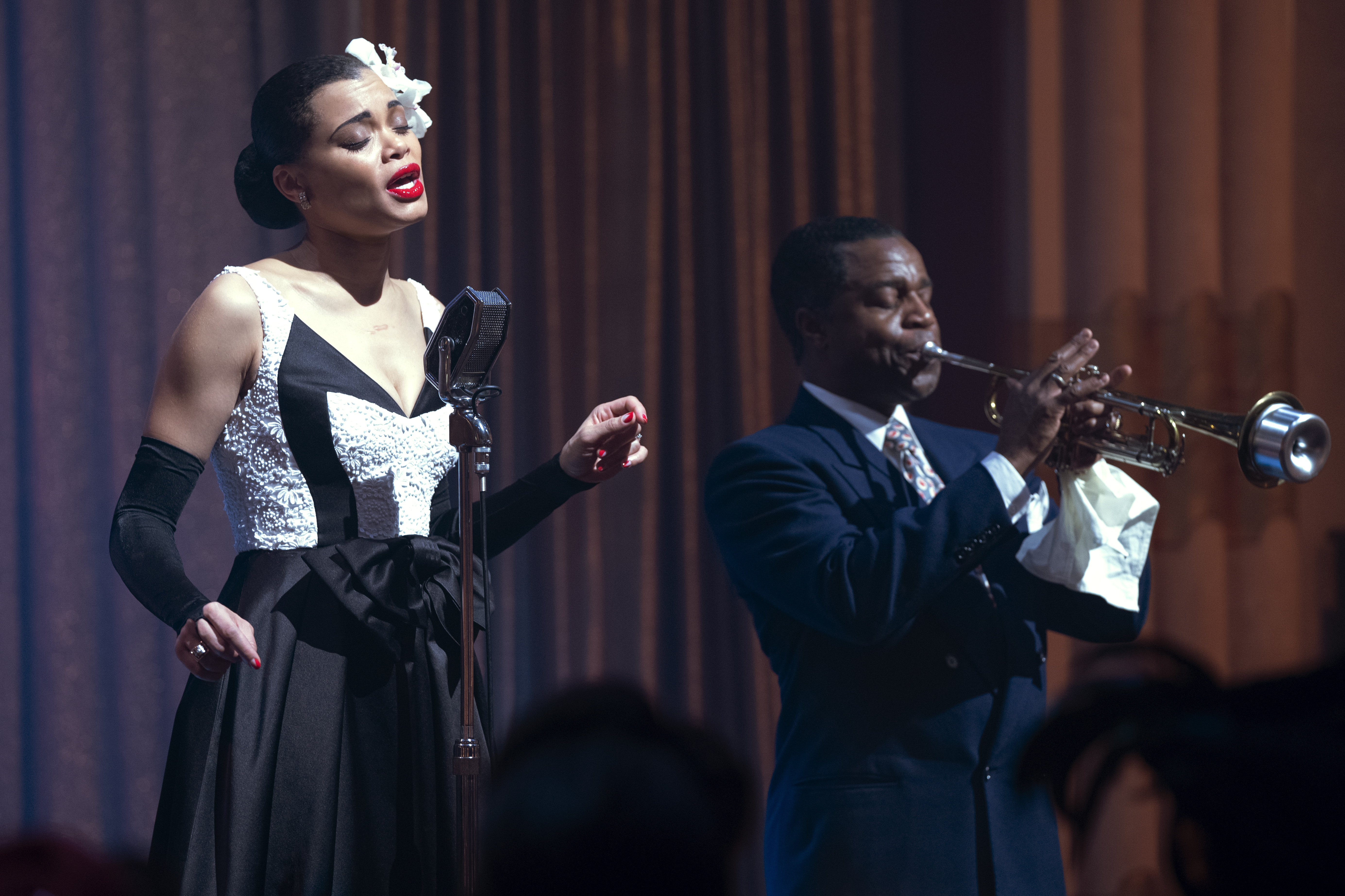 Andra Day and Kevin Hanchard in The United States vs. Billie Holiday