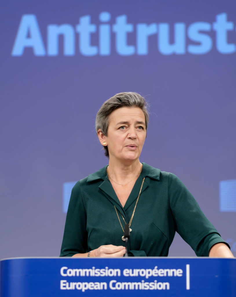 Vestager during a virtual press briefing in the EU Commission headquarters on November 26, 2020, in Brussels, Belgium.
