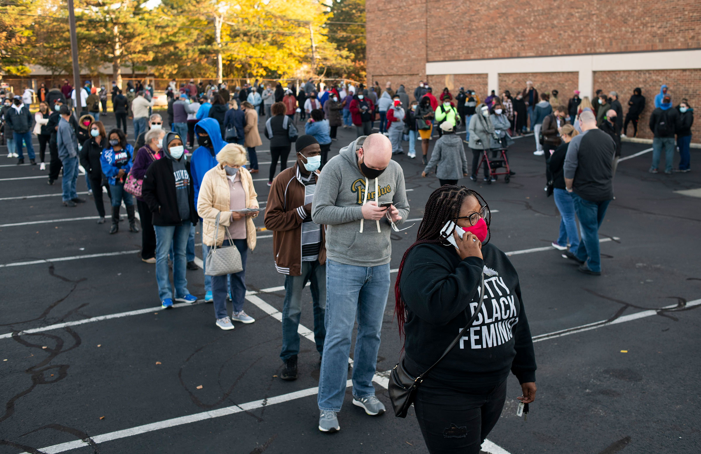Early voters line up outside of the Franklin County Board of Elections Office on in Columbus, Ohio on Oct. 6, 2020.