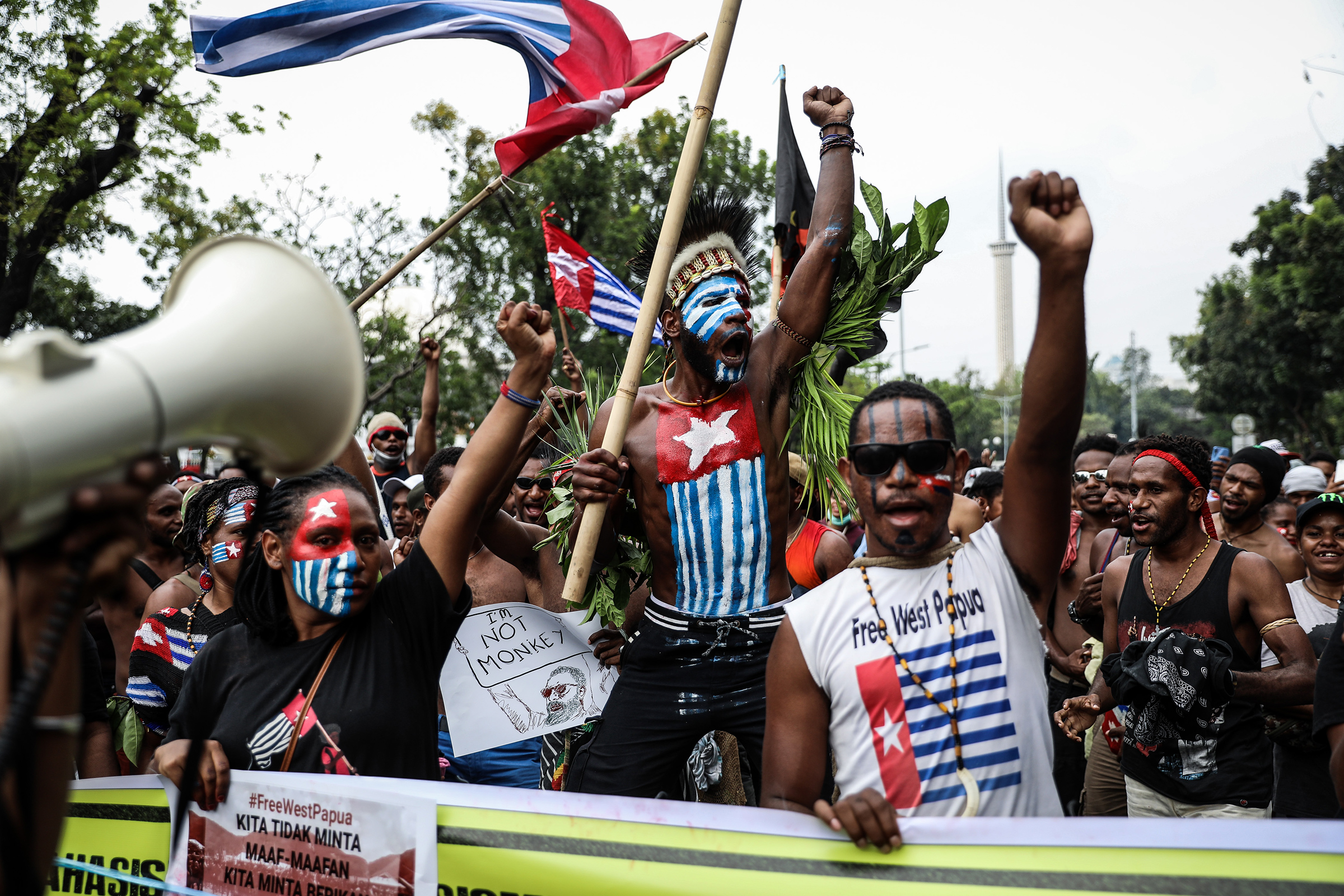 Papuan students shout slogans during a rally in Jakarta on Aug. 28, 2019 supporting West Papua's call for independence from Indonesia